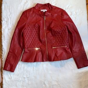 Red faux leather jacket